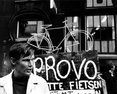 Provo movement mid sixties: White bicycle plan proposed the closing of central Amsterdam to all motorised traffic. improve public transport frequency by more per year. The Provos planned for the municipality to buy 20,000 white bikes per year, which were to be public property and free for everybody to use.