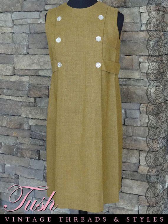 "Carmel Brown Maternity Dress/Jumper | Measurements: Bust - 38""; Waist - 40""; Hip - 48: | Toni Lynn Label | c.1950s-1960s | From TushVintage"