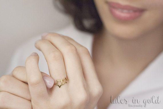 Gold Ring, Star Ring, 14 karat gold Ring, Double Star Ring, Minimal Jewelry, Dainty Ring
