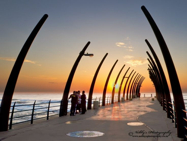 Probably one of the most photographed piers in South Africa, WHALE BONE and SHIPS HULL STRUCTURE: pier at Umhlanga Rocks.