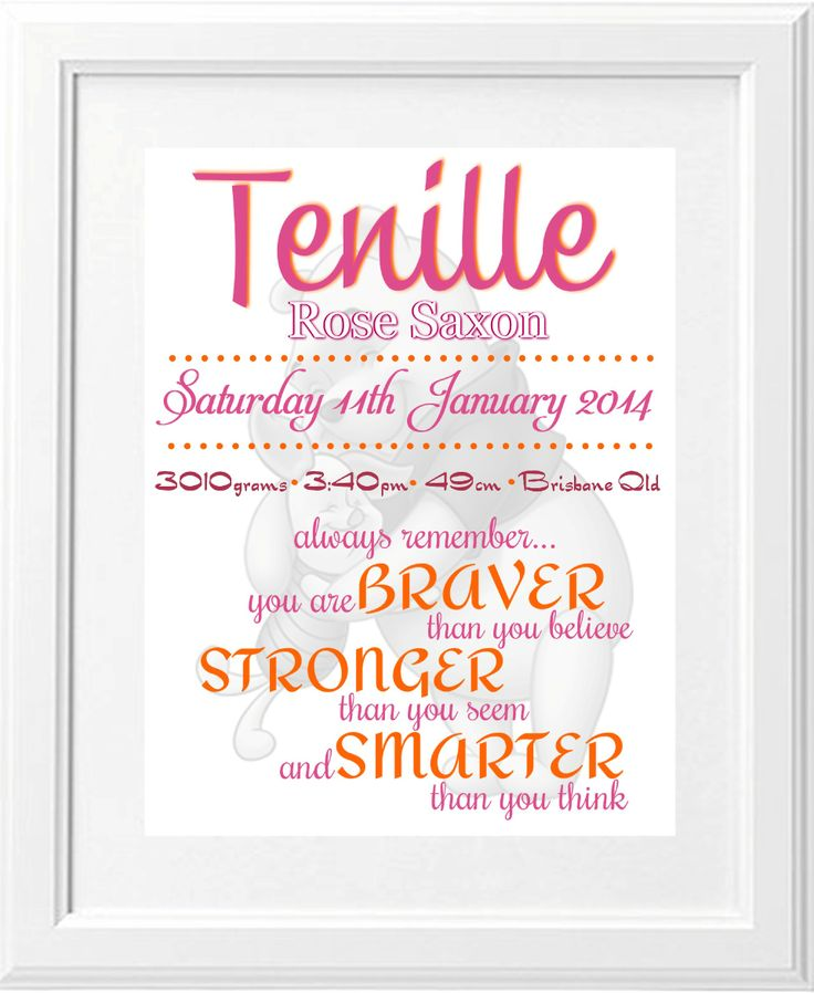 Birth Announcement Print for a little girl with Winnie the Pooh.. These prints are $25 unframed and $45 framed, they are available to order at www.brashdesigns.com.au