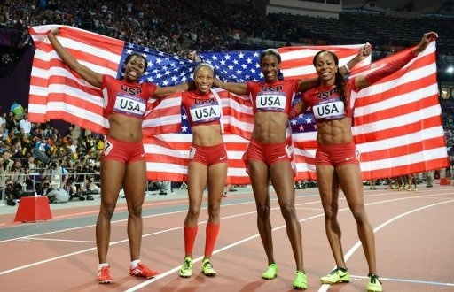 From L:  USA's Francena McCorory, Allyson Felix, Deedee Trotter and Sanya Richards-Ross