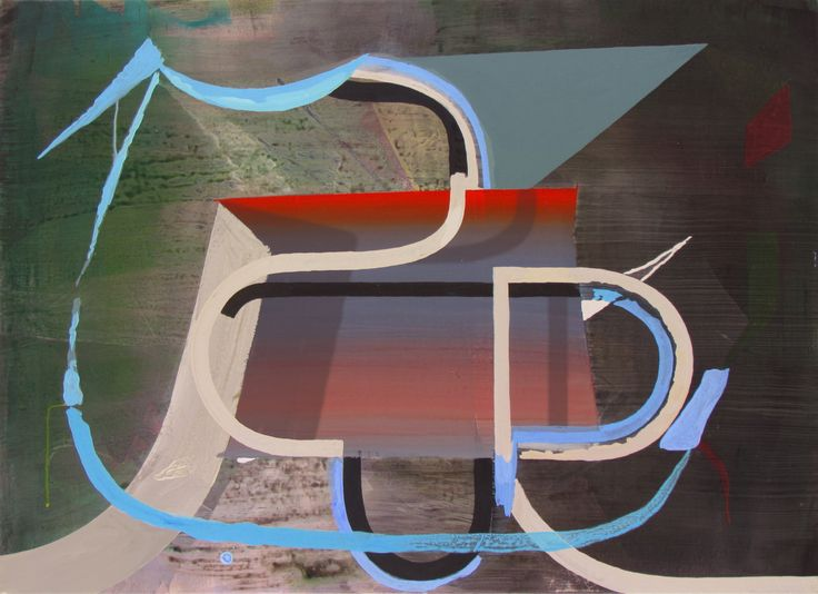 Julian Hooper. Racer 2016, acrylic on linen, 56 x 76 cm