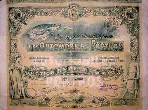 Soc. Génerale des Automobiles Porthos  100 Fr. Paris 1907
