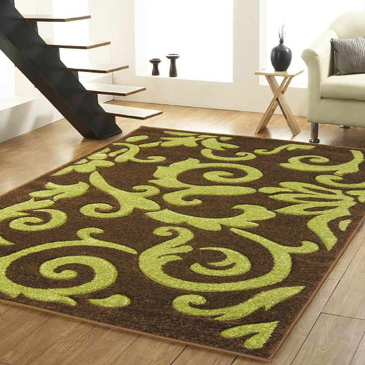 Attractive Details About SMALL MEDIUM LARGE MODERN 10 11 MM THICK ABSTRACT DESIGN BROWN  GREEN RUG
