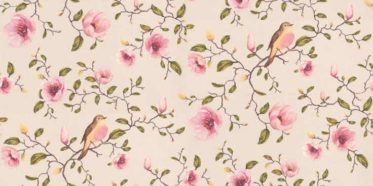 Un Bisou (310010) - Eijffinger Wallpapers - A stunning floral trail with robins in a beautiful painted effect - showing in pink and green on a metallic white background. other colour ways available. Please request a sample for true colour match. Paste-the-wall product.