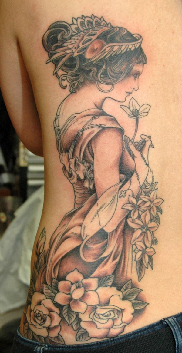 Alfonse Mucha Art Nouveau inspired side tattoo faint colour Perfect for my Greek goddess tattoo