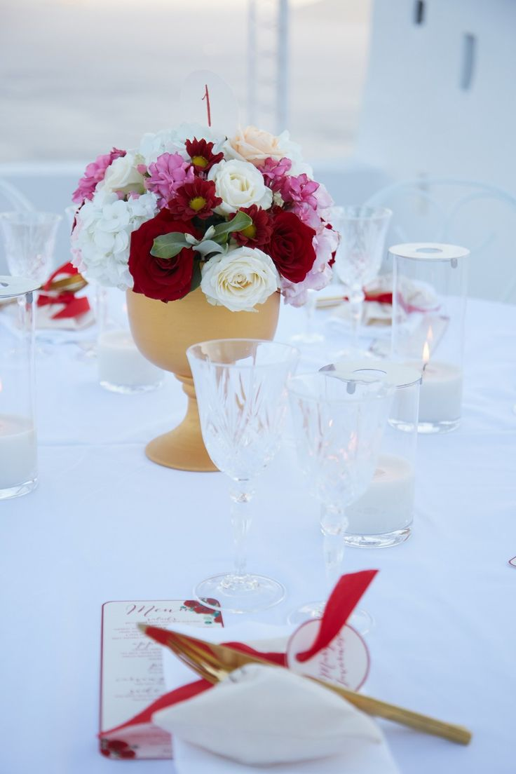 Red, Blush, White, Roses, Table Style, Beauty, Design, Decorations, Santorini Weddings