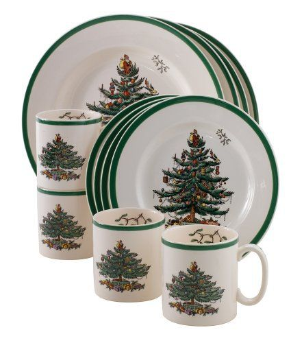 The Spode Christmas Tree 12-Piece Dinnerware set which is service for for people, includes four three-piece place settings comprised of a 10-1/2-inch dinner plate, an 8-inch salad plate, and a 9-ounce mug. Gracefully curved handles allow guests to easily sip coffee, cocoa, or cider from the mugs, while the dinner plates and salad plates recess slightly at the center to prevent spills while filling up at the buffet.