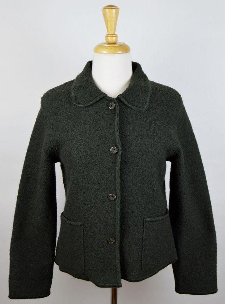 Talbots Petite Women's Green 4 Button 100% Wool Long Sleeve Jacket Size Small #TalbotsPetites #BasicJacket