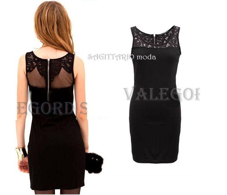 Mini abito pizzo nero zip velato sera festa vestito aderente lace dress robe tul