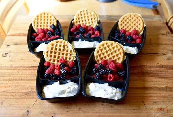 BREAKFAST for dinner or lunch: Whole-grain waffle with Greek yogurt and fresh berries  (¾ cup Greek yogurt with one cup berries and a whole-grain waffle)