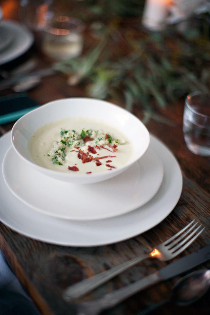artichoke soup with crispy salami and  lemon parsley quinoa