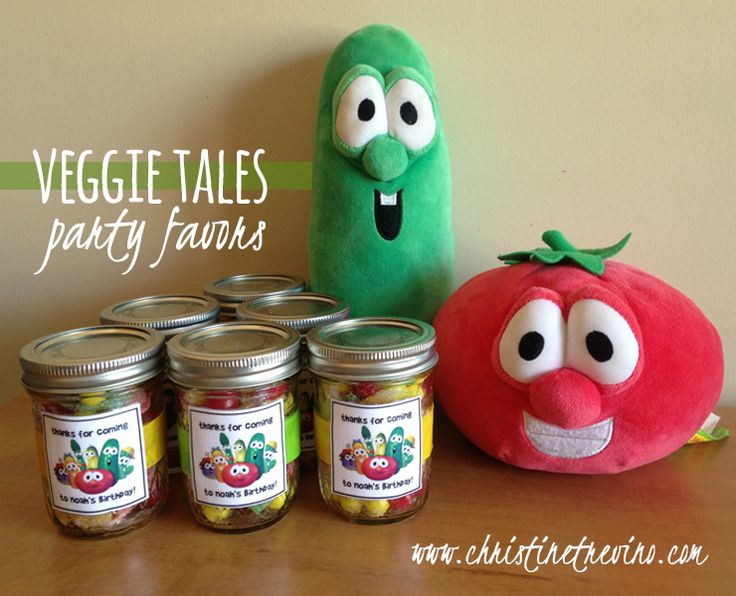 """Veggie Tales Party Favors  Creatively and inexpensively make these Veggie Tales party favors. """"Veggie"""" candy filled Mason Jars."""