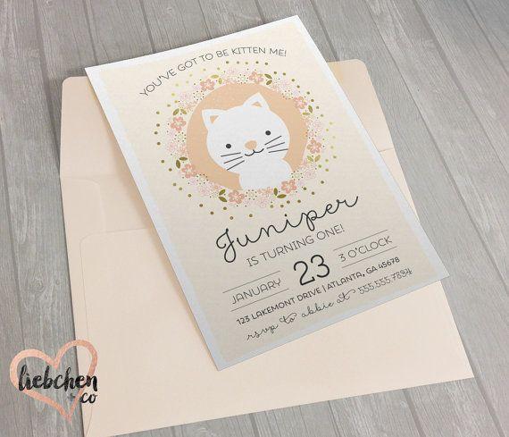 Invitaciones de cumpleaños con temática de gatito | Descargar Digital personalizado
