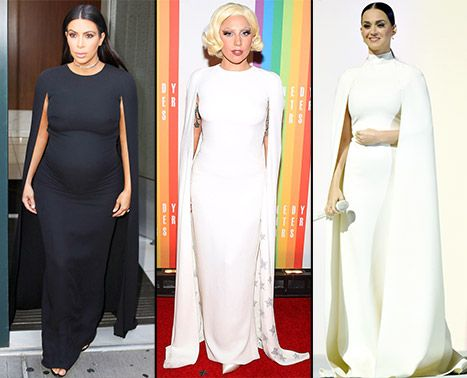 Pregnant Kim Kardashian Takes on Lady Gaga and Katy Perry's Caped Valentino for Latest Pregnancy Outfit: Who Wore It Best? | FASHION NEWS & SHOPPING TRENDS