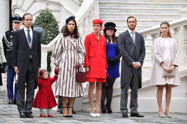 (L-R) Andrea Casiraghi, his daughter India,Tatiana Santo Domingo,Charlotte Casiraghi,a guest, Pierre Casiraghi and Beatrice Borromeo attend the Monaco National Day Celebrations in the Monaco Palace Courtyard on November 19, 2016 in Monaco, Monaco.