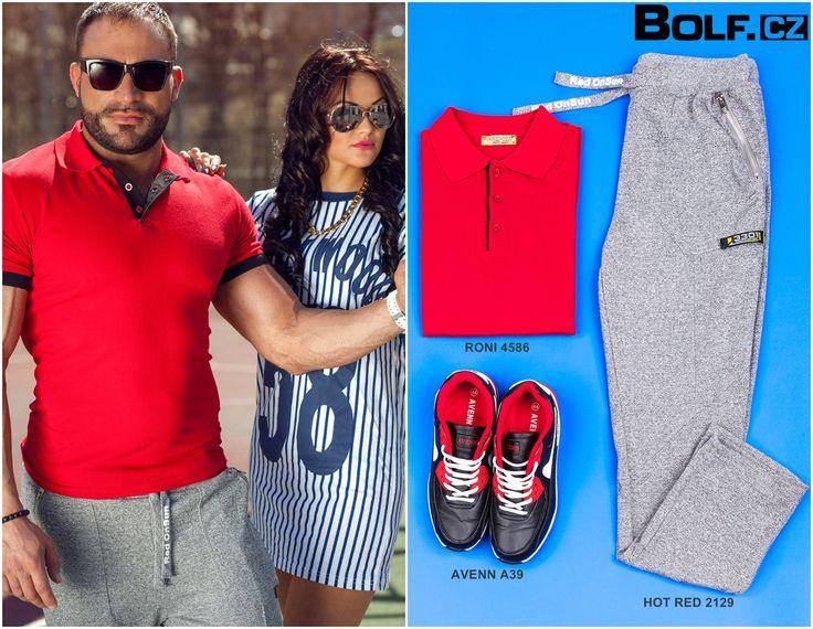 Tento outfit je vhodný pro sportovní a volno časové aktivity. Výrazná červená barva trička skvěle ladí s botami a oživuje šedé sportovní kalhoty. Líbí se Vám?  Sledujte nové informace.