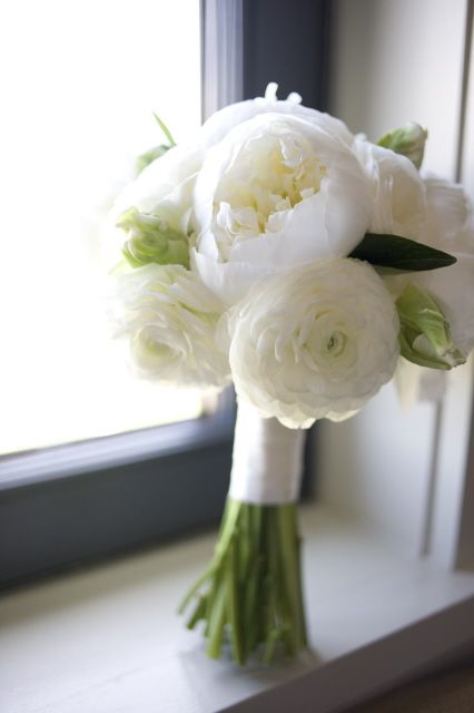 i love peonies so much, this is gorgeous ******Simple Wedding Bouquet. Wedding Flowers. Green and White Wedding Flowers.