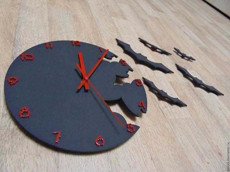 """Купить Настенные часы """"Летучие мыши №2"""" - черный, часы настенные, часы интерьерные"""