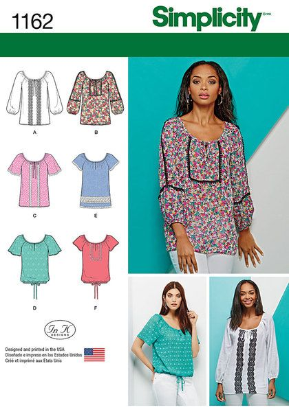 These decorative blouses can be made with cap of flutter sleeve with option of tied waist, and three quarter sleeve, all with keyhole and trim options. Simplicity sewing pattern.