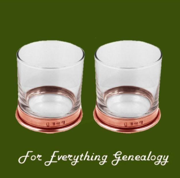 Rose Stylish Pewter Copper Plated Double Tumbler Glass Boxed Set