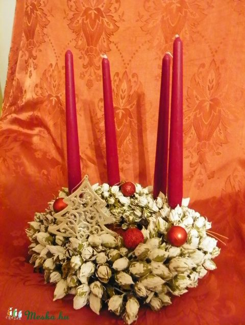 Fehér karácsony-vintage asztaldísz, adventi koszorú (galamb70) - Meska.hu