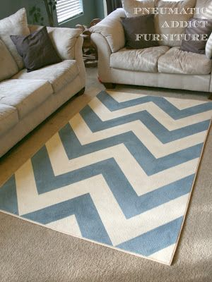 Pneumatic Addict Furniture: DIY Chevron Rug. May have to resort to this if I can't find a rug for the dining room.