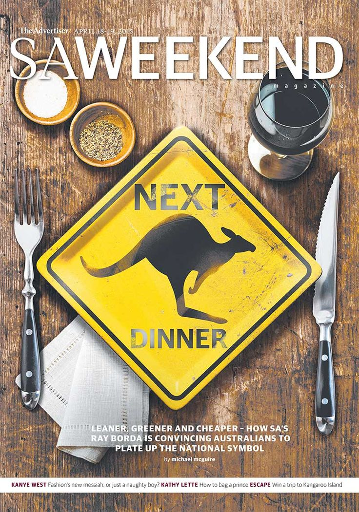 SA Weekend Magazine, April 18, 2015.  #Adelaide #SA #cover #SouthAustralia #magazine #cover #design #kangaroo #food #restaurant