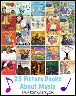 Whether you're learning about the orchestra, composers, or music in general, these 25 music picture books are a fun addition to your #music appreciation studies. http://embarkonthejourney.com/read-25-music-picture-books/