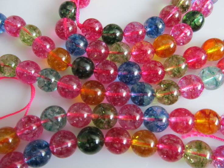 Gekleurde bergkristal crackle kraal in mooie tinten rond 10 mm