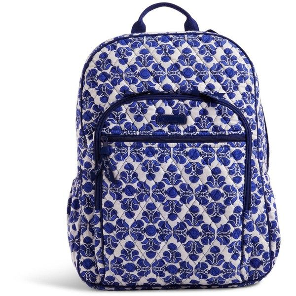 Vera Bradley Campus Backpack in Cobalt Tile ($109) ❤ liked on Polyvore featuring bags, backpacks, cobalt tile, blue backpack, blue bag, vera bradley backpack, strap bag and rucksack bag