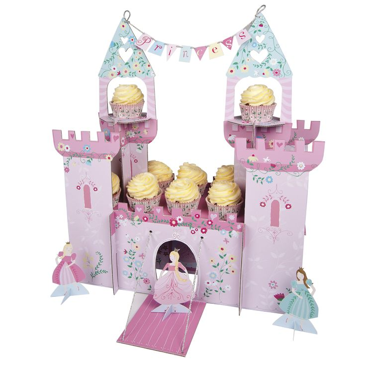 I'm a Princess Party Centrepiece ~  It's time to put on the flowing gown and tiara and head to the princess party castle.  This beautiful party centrepiece comes complete with turrets, drawbridge and princess banner as well as princess figures.  It also holds a host of cupcakes.  Single party centrepiece holding 22 cupcakes and with three princess, pop-up characters.  £21.00