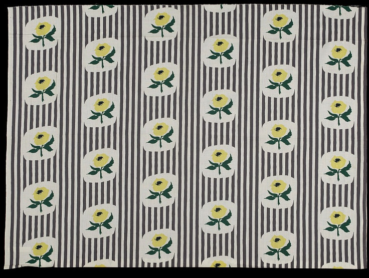 Stripe and Rose dress fabric by Pat Albeck for Horrockses Fashions, 1953