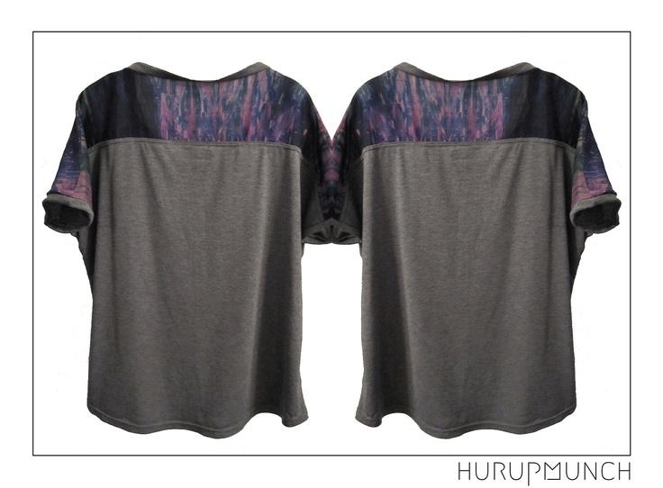 Cotton jersey t-shirt with cotton/silk mix part over shoulder