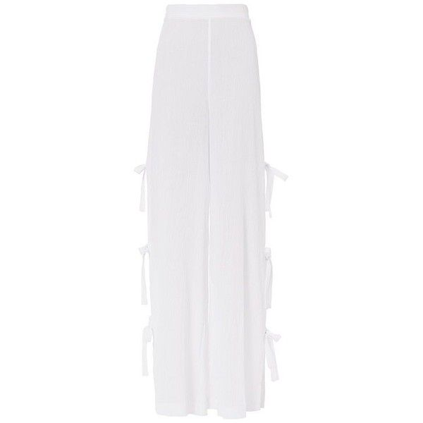 Jonathan Simkhai Women's Side Tie Gauzy Pants (£235) ❤ liked on Polyvore featuring pants, cotton trousers, beach pants, white cotton pants, white pants and white trousers