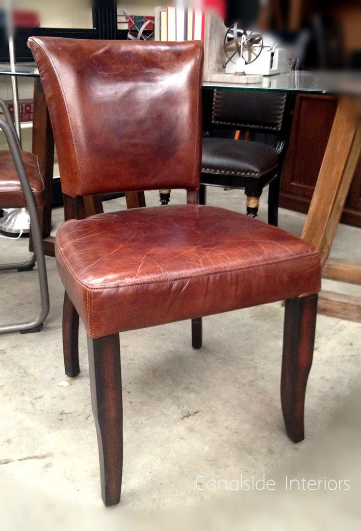 Industrial leather dining chair - Cuba Aged Leather Dining Chairs Canalside Interiors