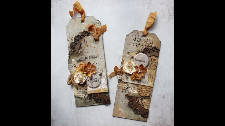 Video tutorial on how to create vintage tags by Heather Thompson featuring 7 Dots Studio Lost&Found collection.
