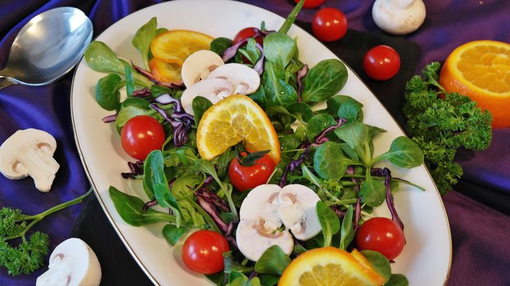#appetizer salad #colorful #delicacy #eat #eat colourful #food #frisch #gourmet #green #healthy #herbs #kitchen #meal #mixed #mixed salad #nature #nutrition #orange mushrooms #raw food #red #salad #salad plate #starter