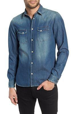 968da4848c THE KOOPLES Designer Trim Fit Washed Denim Western Shirt | Avivey ...