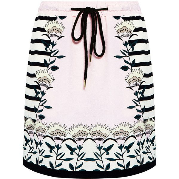 Markus Lupfer - Blooming flower stripe silk mini skirt ($395) ❤ liked on Polyvore featuring skirts, mini skirts, bottoms, short mini skirts, long pink skirt, striped skirt, silk mini skirt and summer skirts