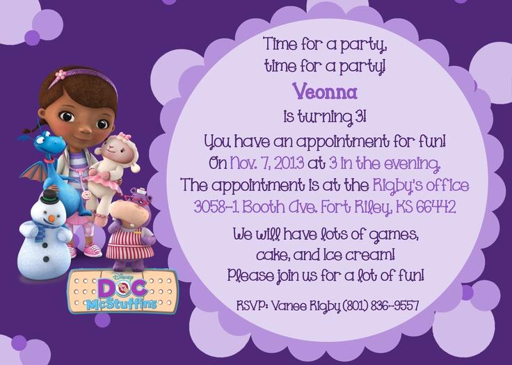 59 best birthday invites images on pinterest invites disney disneys doc mcstuffins 2 theme birthday card filmwisefo