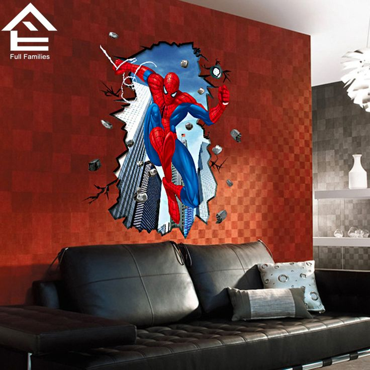 Find More Wall Stickers Information about Spiderman Children's Bedroom Background Personality Wall Stickers For Kids Rooms DIY Home Decoration Wall Art FF qt028,High Quality stickers bullet,China sticker factory Suppliers, Cheap sticker wholesale from Full Families on Aliexpress.com
