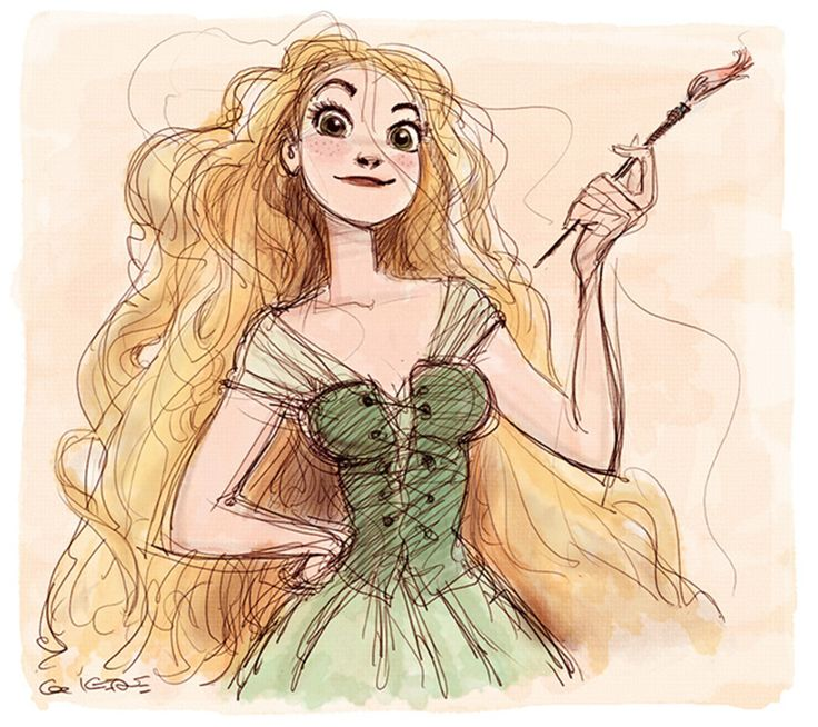 """Lovely concept art of Rapunzel by the inimitable Claire Keane for Disney's """"Tangled"""" (2010)."""
