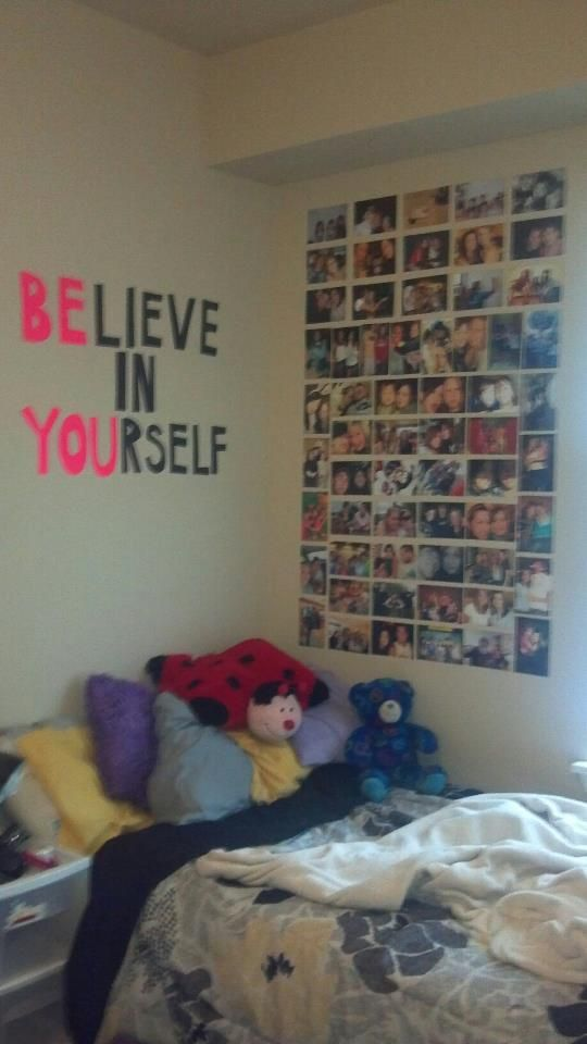 BElieve in YOUrself but with wood letters painted in fun colors
