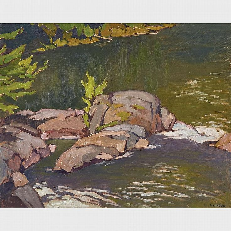 A.J. Casson - Below Marshes Falls 12 x 15 Oil on board