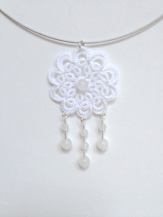 White tatted  lace necklace tatted  turquoise   by SILHUETTE, $35.00
