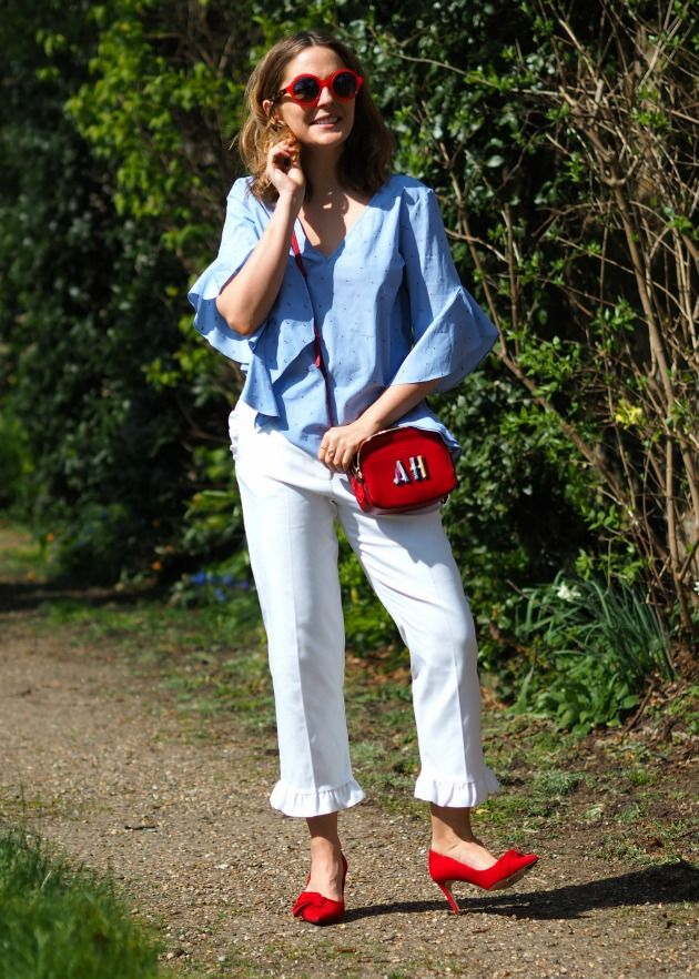 blue shirt + white frilled pants