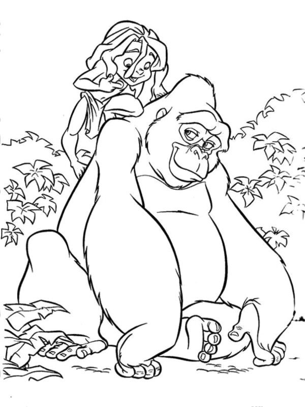Tarzan Lovely Kingkong Coloring For Kids