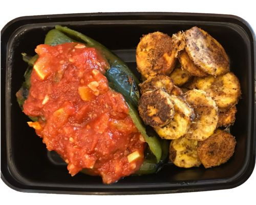 Paleo Beef Chili Relleno by Pure Plates A roasted poblano chili pepper stuffed with seasoned ground beef, topped with our tomato sauce and served with chili spiced plantains